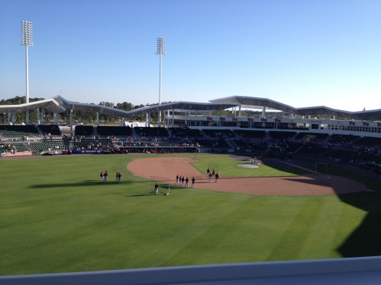 The Twins take batting practice before Thursday's game at JetBlue Park.